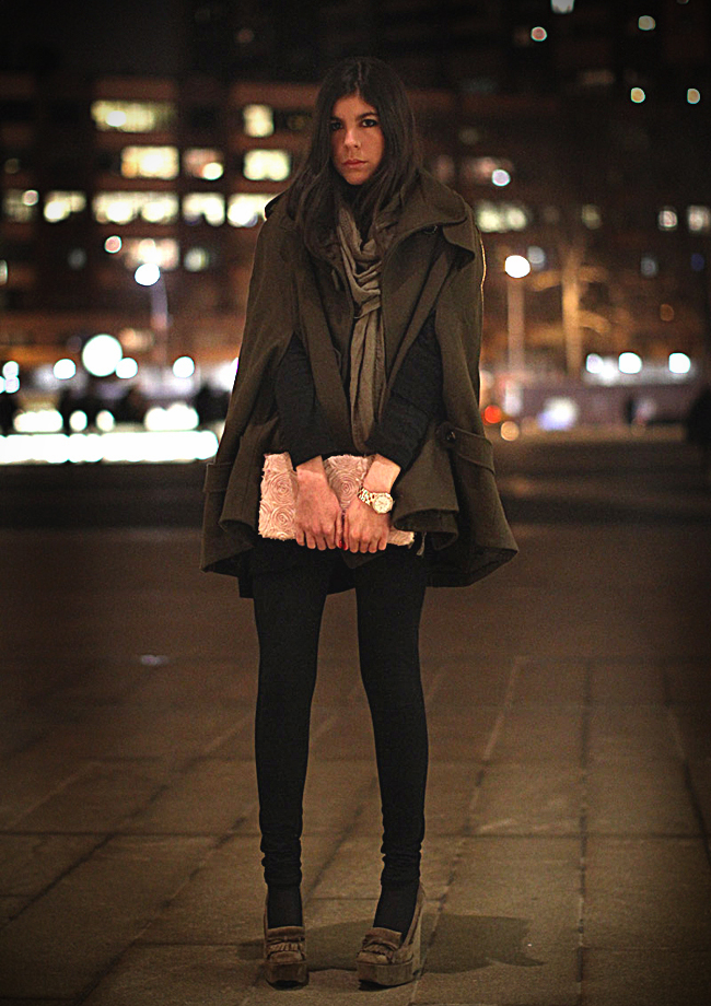 Asos cape, Balenciaga Platform loafers, fashion, Marc Jacobs watch, New York Fashion Week at Lincoln Center