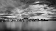 Panoramic view of the old town of Kavala b/w (Mavroudakis Fotis) Tags: city longexposure travel light sea sky blackandwhite bw panorama storm cold beautiful beauty rain weather sign horizontal clouds contrast outdoors photography mar scenery mediterranean mare sailing loneliness afternoon photographer power god ominous space horizon shoreline dramatic nobody nopeople visit scene canvas greece shore serenity vista destination bigsky majestic seashore tranquil oldcity scenics sunray foreground kavala tempesta horizons absence tranquilscene wideopen destinations landscpe caslte panagia beautyinnature digitalcameraclub northerngreece orrizonte horizonoverland paessagio nikond700 panoramafotogrfico nopeoplephotography obramaestra ndndfilter