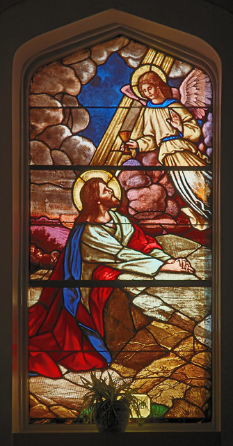 Saint Joseph Roman Catholic Church, in Louisiana, Missouri, USA - stained glass window of the agony in the garden