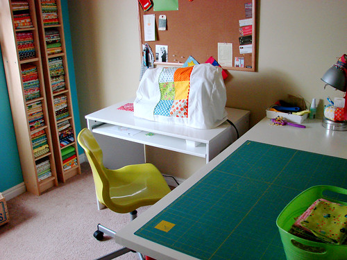favorite stash / sewing desk / cutting table