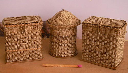 Clothes hampers in 1:12 scale by CDHM Artisan Lidi Stroud, IGMA Artisan of Nambucca's Little Shoppe