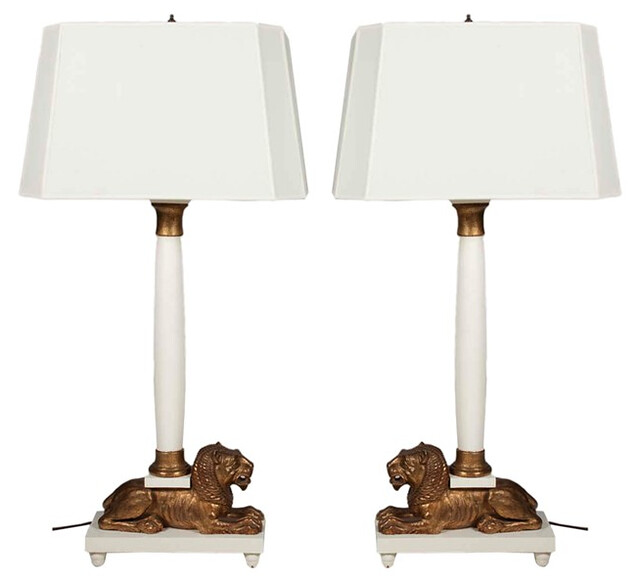 Lion column lamps 1960s $5500
