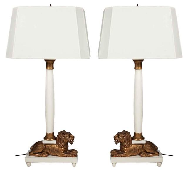 Lion column lamps 1960s $5500