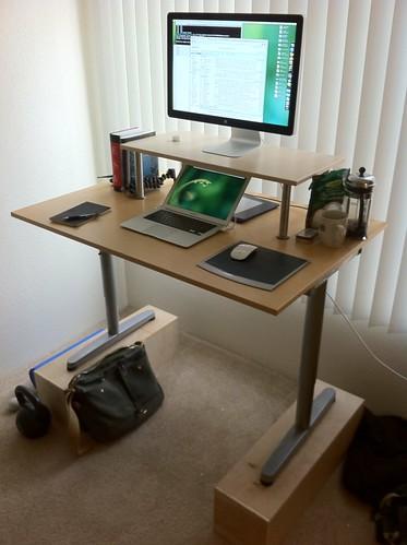 work diy desk whatsonmydesk kettlebell glif standupdesk gorillapod ikeagalant archivalclothingfieldbag githubmug