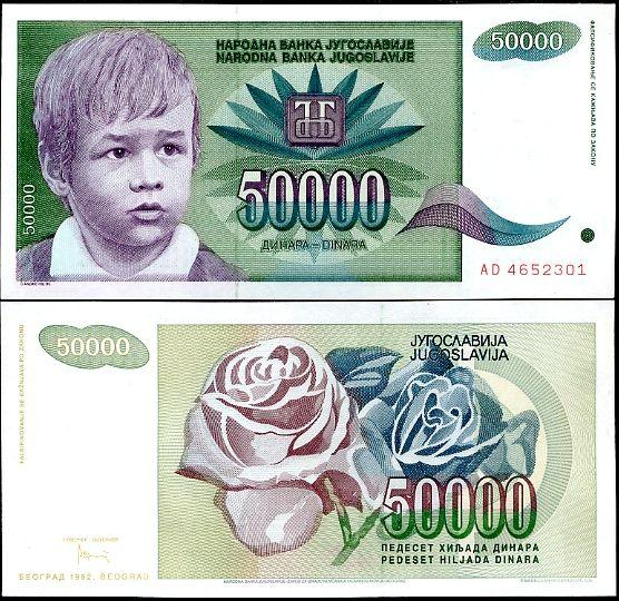 50 000 Dinárov Juhoslávia 1992, P117