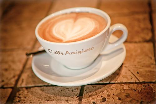 Freshly made latte from Caffe Artigiano Coffee House