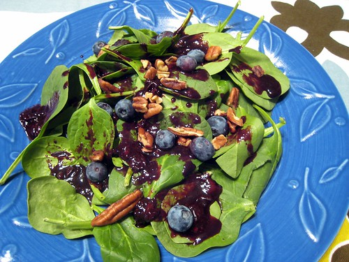 I'm not even sure I can call this a vinaigrette, it's pretty much just balsamic vinegar and blueberries. It's delicious though.