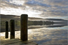 SUBMERGED JETTY (IMAGES OF WALES.... (TIMWOOD)) Tags: trees england mist lake clouds reflections pier early jetty branches sony lakedistrict hills dew cumbria alpha coniston langdales bleatarn a700 conistonwaters mygearandme