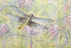 Dragonfly Fantasy - an acrylic, pen/ink painting (Elizabethc) Tags: art pen ink painting artwork artist acrylic dragonfly michigan mixedmedia fantasy battlecreek barkcloth elizabethcrabtree crabtreeoriginals