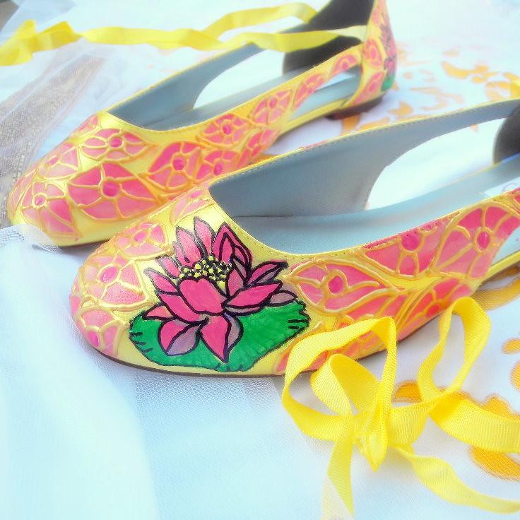Wedding Flats painted lotus art deco feathers