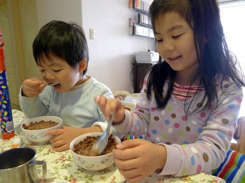 今天的早餐是巧克力豆 :)