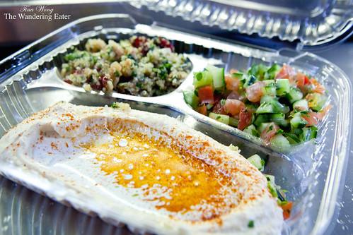 hummus+ quinoa salad + israeli salad (of the falafel platter)