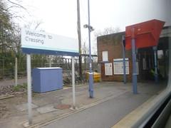Next stop Cressing P1420394 (tomylees) Tags: station platform railway signpost essex cressing