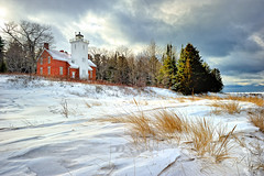 """Daybreak at 40 Mile Point""  40 Mile Point Lighthouse, Rogers City, Michigan (Michigan Nut) Tags: winter usa snow beach sunrise geotagged photography coastline lakehuron stormclouds michiganlighthouses rogerscitymichigan 40milepointlighthouse michigannutphotography"