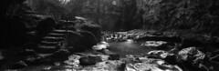 Féerie de l'eau (Tonton Dave) Tags: panorama nature water monochrome stairs river waterfall rocks eau rivière linhof cascade rochers escaliers technorama tinedeconflens