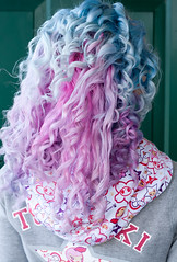 Day 99 of 365 - Year 2 (wisely-chosen) Tags: selfportrait me march canon50mmf18 pinkhair bluehair tokidoki cameraraw 2011 365days lavenderhair naturallycurlyhair manicpanicredpassion curlformers adobephotoshopcs5extended herbalessencestouslemesoftlyconditioner proclaimarganoilhairoiltreatment hawaiiansilkymiracleworker14in1