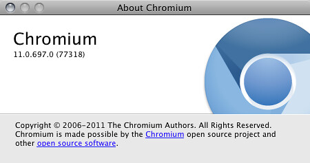 Chromium build 11.0.697.0 (nuovo logo)