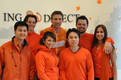 Trevor Linden doing the ING THRiVEtastic campaign