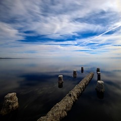 blue (Eric 5D Mark III) Tags: california longexposure blue sea sky usa cloud lake reflection water canon square landscape mirror unitedstates perspective surface saltonsea bombaybeach ef14mmf28liiusm eos5dmarkii