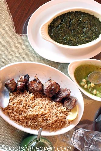Sabzi (spinach) and teka beef kabob