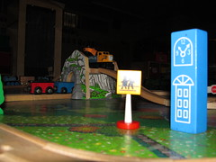 Train Town at Night (kymlatt) Tags: structure childhoodtoys project52 week1052 mcpproject52 kmlattimore kymmusesblogspotcom