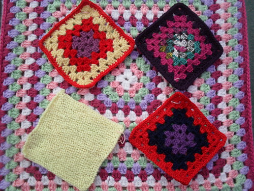 Three Crocheted Grannies and one Knitted Square. I love them Annelinde Thank You so much!