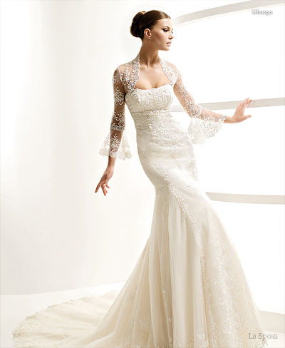wedding dresses 2011 With the full model with lace bolero and tulip sleeves
