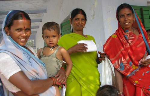 women and children at the clinic