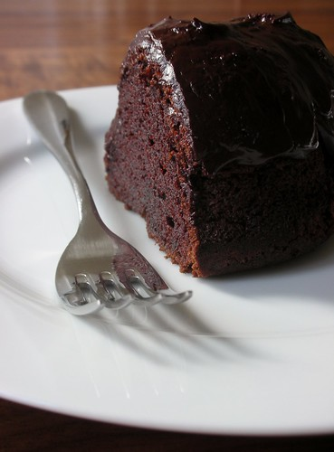 whiskey-soaked dark chocolate bundt cake