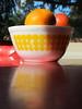 Citrus Dots (Victory Garden Yarn) Tags: kitchen vintage citrus oranges pyrex vintagebowls newdots