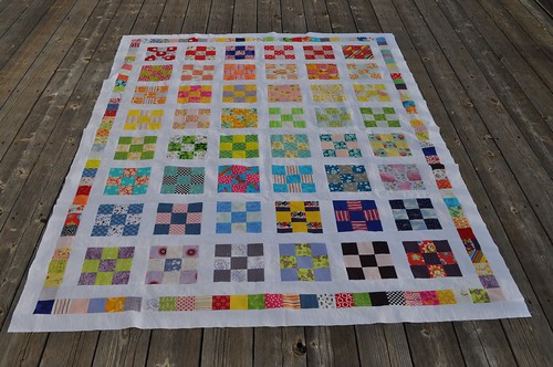 rainbow 9-patch quilt top