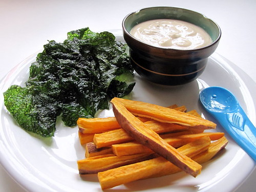 Crispy Sweet Potato Greens and Fries with Sisig Yogurt Dip