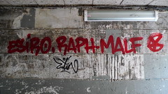 (Gabri Le Cabri) Tags: red black paris lamp wall grey graffiti sticker buff 75018 raph engraved oliv erased lutin paris18 malf esiro