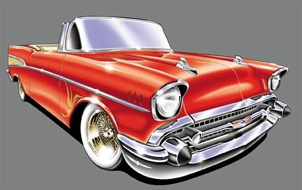 1957 chevy lowrider  line art