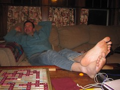 Scrabble (Tobyotter) Tags: man male guy friend toes aaron scrabble barefoot barefeet soles