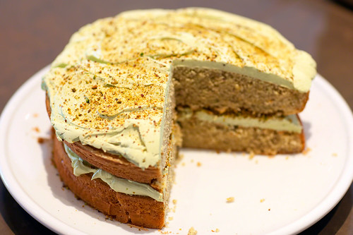 Pistachio Vanilla Butter Cake with Matcha Buttercream
