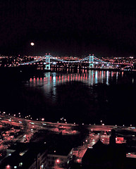 Triboro Bridge (now Robert F. Kennedy (RFK) Bridge) at Night with A Full Moon In The Photograph; New York, NY (hogophotoNY) Tags: newyorkcity moon night lights manhattan tripod fullmoon eastriver bigapple triboro thebigapple nycbridge newyorkcityny nightphotograph newyorkbridge hogo hogophoto rfkbridge robertfkennedybridge newyorkfullmoon
