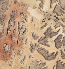 Wadi Rum, Jordan (NASA Goddard Photo and Video) Tags: mountains rocks satellite redsand aerial nasa jordan valleyofthemoon lawrenceofarabiawadirum