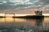 16-7423 (George Hamlin) Tags: minnesota duluth aerial lift bridge self unloading bulk carrier american integrity dawn colorful sky clouds water photo decor george hamlin photography silhouette