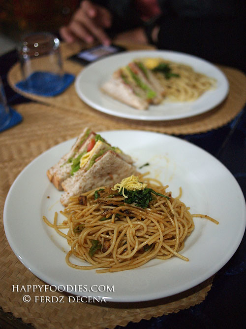 Spicy Tuyo Pasta with Clubhouse Sandwich