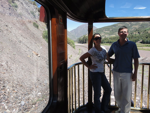 Wendy and Dusty in the Viewing Car on Peru Rail's Andean Explorer
