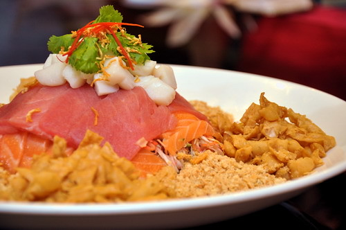 Scallop Salmon Tuna Yee Sang with Wasabi Peanut sauce