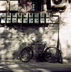 The Law of alley ( ken ) Tags: china street shadow 120 6x6 film bicycle wall alley kodak beijing greatwall          ektacolorpro160