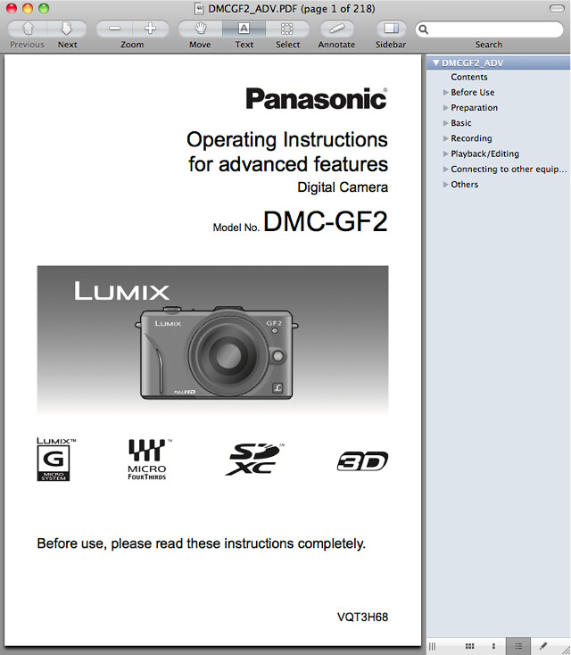 Panasonic GF2 Manual -- Advanced Operating Instructions