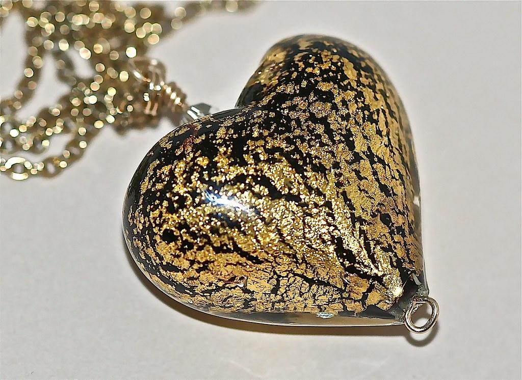 Black Gold Lampwork Heart Pendant Necklace