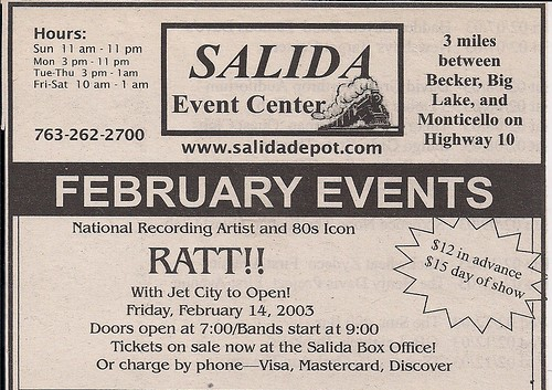 02/14/03 Ratt/Jet City @ Salida Event Center, Salida, MN