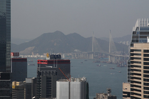 Stonecutters Bridge with the island of Tsing Yi behind