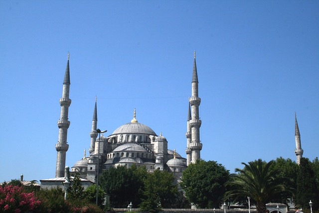 a blue mosque and a blue sky