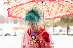 Day 68 of 365 - Year 2 (wisely-chosen) Tags: selfportrait me umbrella february canon50mmf18 bluehair tokidoki 2011 365days naturallycurlyhair manicpanicbadboyblue curlformers adobephotoshopcs5extended ardellfashioneyelashes111