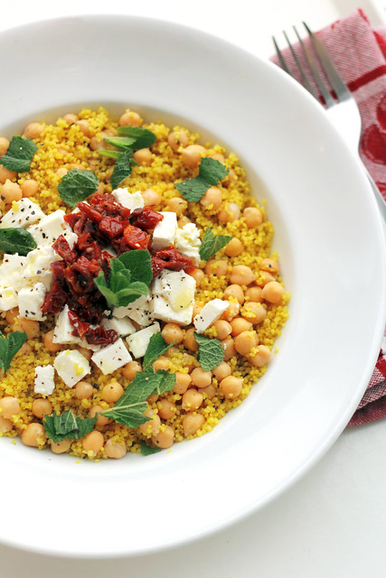 Chickpeas, Feta Cheese and Sun dried tomatoes Couscous